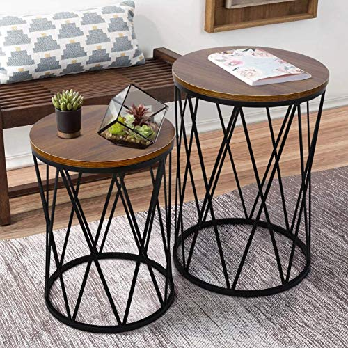 amzdeal Nesting Coffee Table Set of 2, Stacking Side Table for Living Room, Modern Decor End Tables with Metal Frame Industrial Design