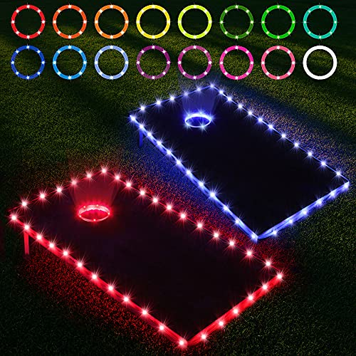 Blinngo Cornhole Lights, 16 Colors Change Cornhole Board Ring Lights and Edge Lights with Remote Control for Family Backyard Bean Bag Toss Cornhole Game, 2 Set