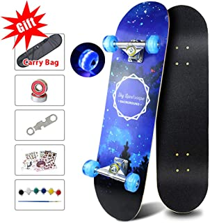 Easy_Way Complete Skateboards- Standard Skateboards Colorful Flashing Wheels for Beginners Starter Kids Boys Girls Youths - 31''x 8''Canadian Maple Cruiser Pro Skate Board,Kids Longboard Skateboards