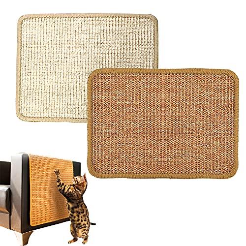 2 pezzi Tappetino tiragraffi per gatti 30 x 40 cm, in sisal naturale, Mobili Orizzontali e Verticali, protegge tappeti e divani, Adatto a Gatti Piccoli, Medi