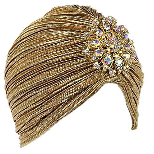 La Mujer De La Colmena del Turbante Sombrero De Punto Turban Headwraps con Broche del Cristal Desmontable