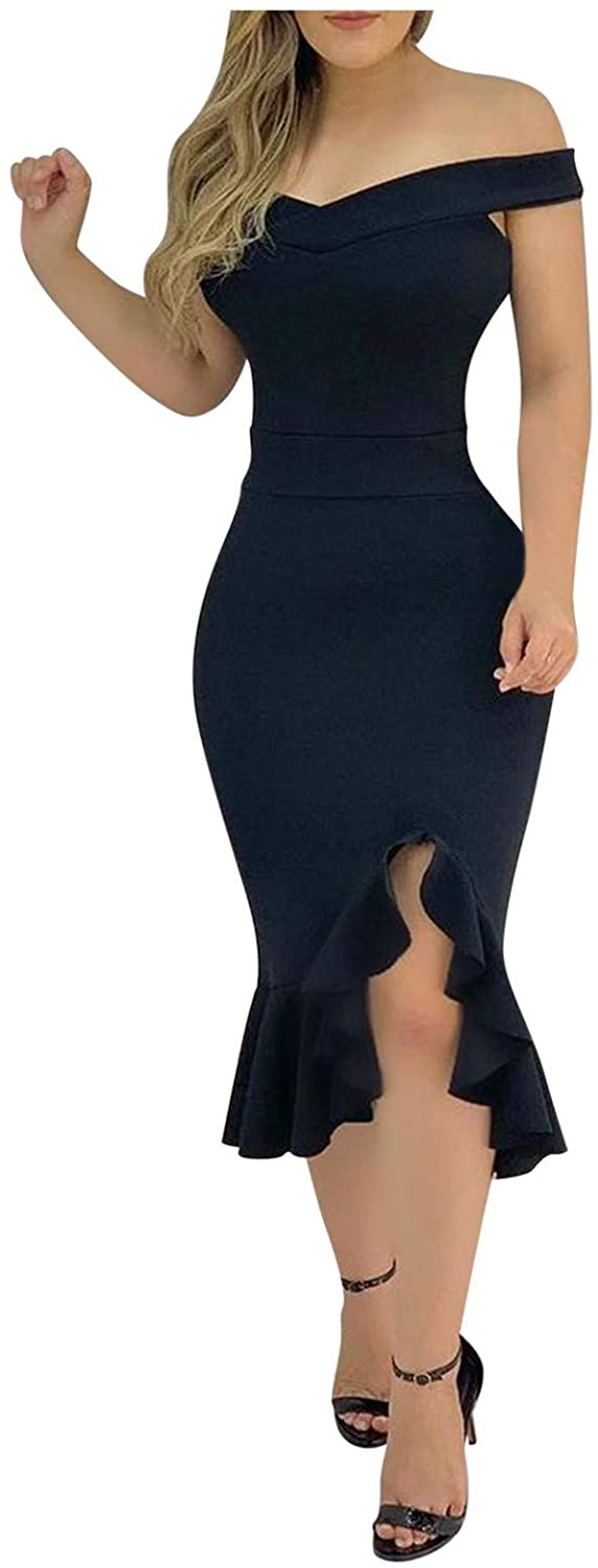 DIJING Dresses Max 72% OFF for Women Slim Fit Short Dress Cold Party Albuquerque Mall Ruffle