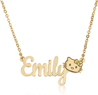 56ad66cab Beleco Jewelry Personalized Handmade Hello Kitty Name Necklace for Girls  Customize Any Name with Birthstone for