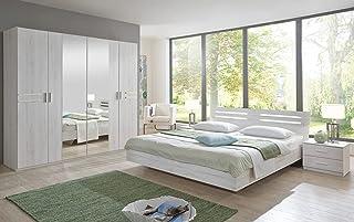 PEGANE Chambre à Coucher compléte Adulte (lit 140 x 190 cm + 2 chevets+Armoire) Coloris Imitation chêne Blanc