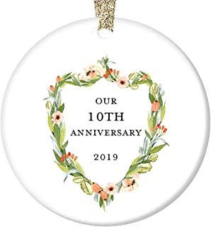 10th Wedding Anniversary Ornament 2019 Christmas Couple Married 10 Ten Years Together Tenth Holiday Marriage Husband Wife Ceramic Keepsake Present 3