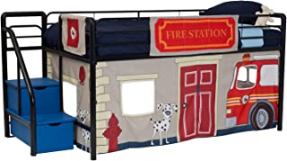 DHP Junior Black Metal Loft Bed with Blue Storage Steps and Fire Department Curtain Set, Kids Bed Set, Twin