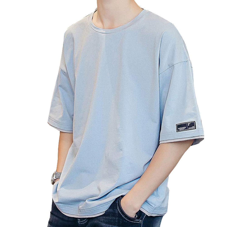 として退屈させる騒[ Smaids x Smile (スマイズ スマイル) ] トップス Tシャツ 半袖 ゆったり シャツ 無地 丸首 配色 カジュアル メンズ