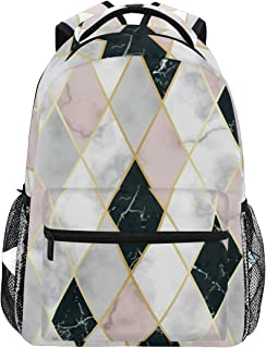 Geometric Pink White Black Marble Backpacks Travel Laptop Daypack School Bags for Teens Men Women