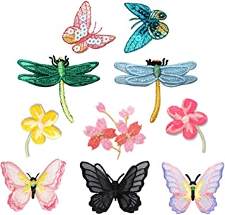 2dd88765b 10 Pieces Flowers, 3D Small Lace Butterfly, Dragonfly, Pink Sequins  Butterfly, Cherry