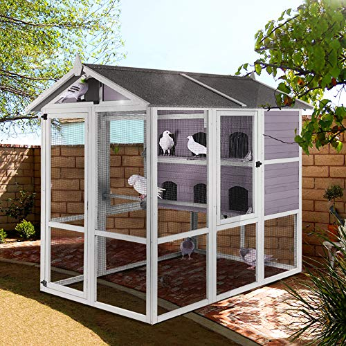 Bird Cage Outdoor 68' Large Pigeon House with Wooden Stand Perch,Covered Roof Dove Cage,Bird Aviary Walk-in