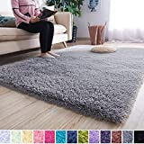 Noahas Super Soft Modern Shag Area Rugs Fluffy Living Room Carpet Comfy Bedroom Home Decorate Floor Kids Playing Mat 4 Feet by 5.3 Feet, Grey