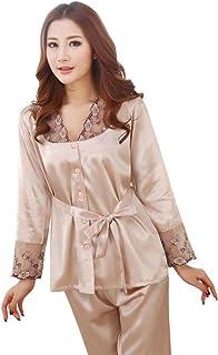Henhzhi Hengzhi Women s Satin Sleepwear Pajama Set Sexy Long Sleeve  Nightgown Plus Size 176a5275d