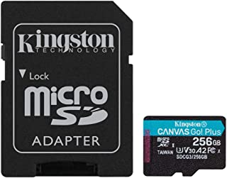 Kingston 256GB microSDXC Canvas Go Plus 170MB/s Read UHS-I, C10, U3, V30, A2/A1 Memory Card + Adapter (SDCG3/256GB)
