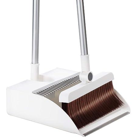 ほうきちりとりセット ほうきちりとり立て式掃除セット掃除道具 ほうき ちりとり セット 屋外 留め具固定180°角度調節可能ほうき回転式ほうき収納便利組み立て簡単室内屋外令和 掃除セット(ホワイト)