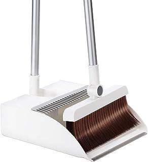 ほうきちりとりセット ほうきちりとり立て式掃除セット掃除道具 留め具固定180°角度調節可能ほうき回転式ほうき収納便利組み立て簡単室内屋外令和2021最新版掃除セット(ホワイト)
