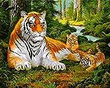 Kits Manualidades Pinturas Oleo Animal Tigre Pinturas para Lienzo DIY Regalos Pinturas con Numeros para Adultos 40X50Cm