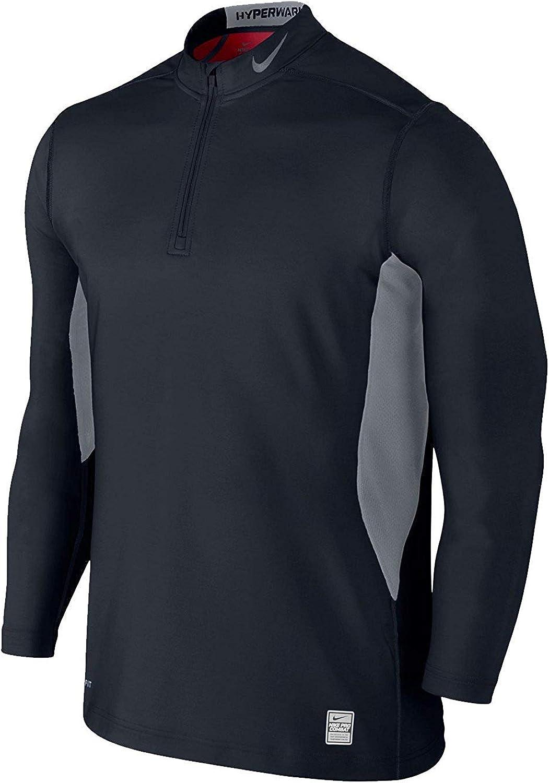 Nike Men's Pro Combat Hyperwarm DriFIT Max QuarterZipper Black Grey