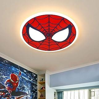 Plafón LED moderno de 56W Lámpara de guardería Spiderman Lámpara infantil redonda de dibujos animados Lámpara de dormitorio de diseño creativo Pantalla de acrílico Lámpara de techo Ø62CM,Dimmable