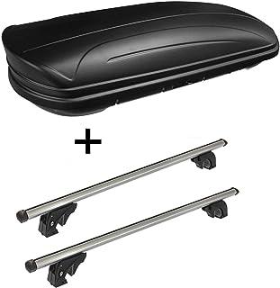 VDP Dachbox VDPMAA320 320Ltr abschließbar schwarz matt + Dachträger/Relingträger LION1 kompatibel mit Seat Ateca (5 Türer) ab 16