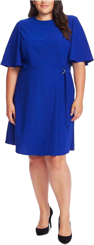 Vince Camuto Womens Plus Flutter Sleeve Office Wear to Work Dress Blue 16W