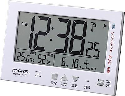 MAG(マグ) 目覚まし時計 電波 デジタル エアサーチミチビキ 環境目安表示機能 バックライト スヌーズ機能付き ホワイト T-727WH-Z