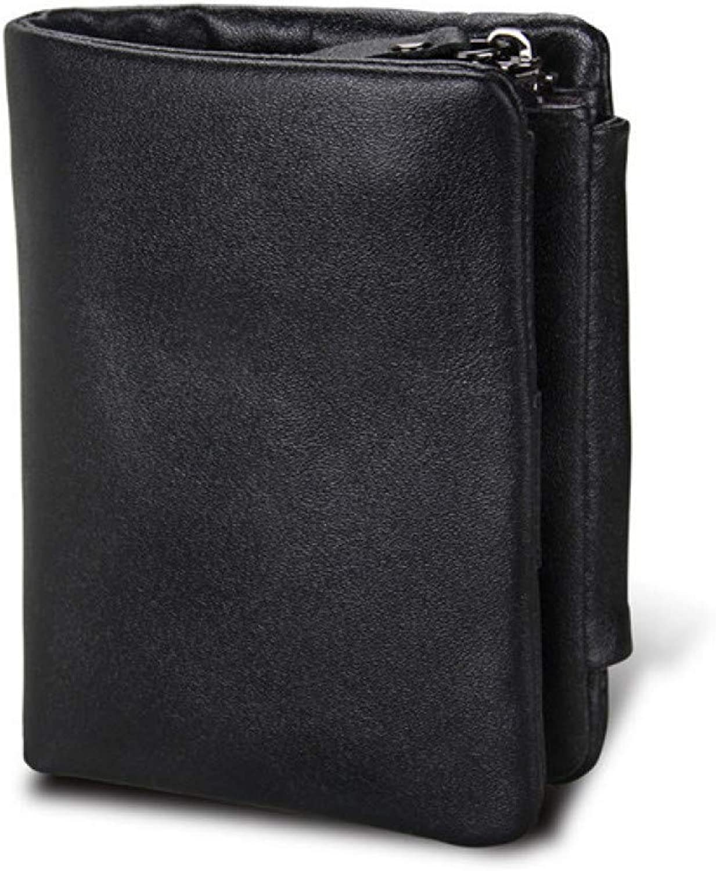 KHGUDS Genuine Leather Men Wallets Vintage Trifold Wallet Zip Coin Pocket Purse Leather Wallet for Mens Sd Card