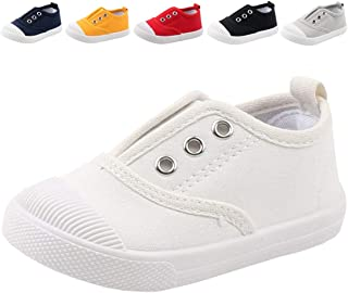 Boy's Girl's Candy Color Canvas Slip-On Lightweight Sneakers Cute Casual Running Shoes