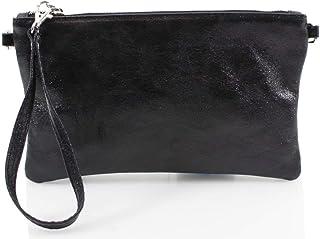 Ladies Women Vera Pelle Metallic Real Leather Clutch Bag