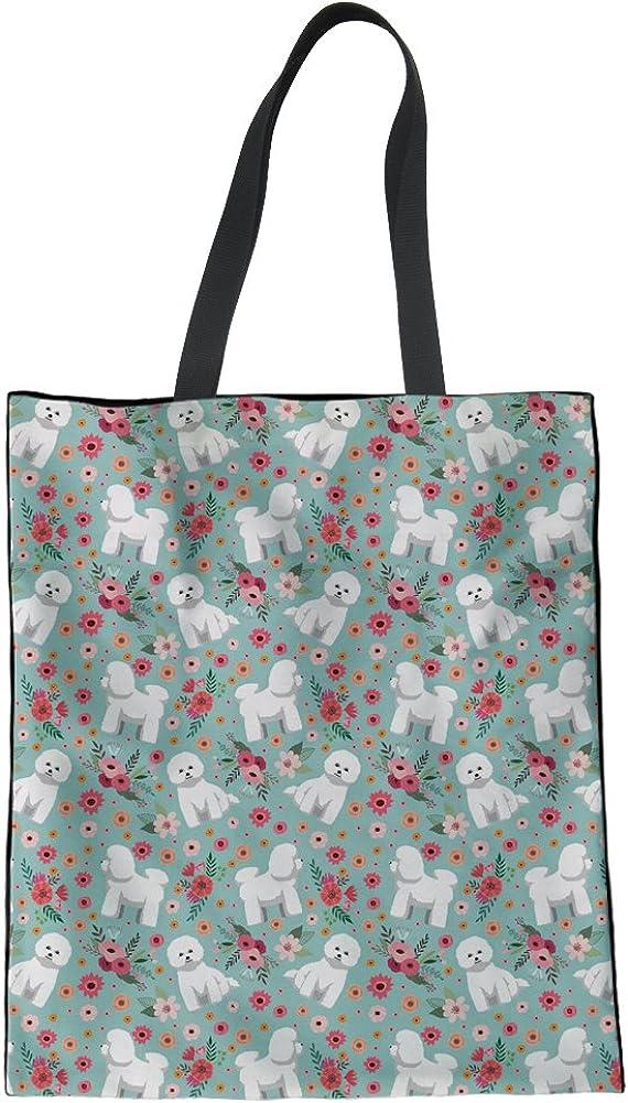 HUGS IDEA Flower Dog Print Linen Bag Travel Ha Shoulder New life Tote Max 59% OFF