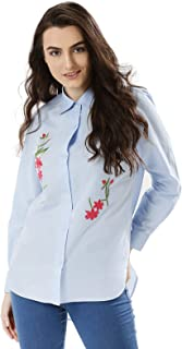 Koovs Blue Shirt Neck Shirts For Women