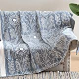 JINCHAN Blue Throw Blanket Cotton Twin Size Blanket Coverlet Summer Blanket for Sofa Couch Decor Boho Blankets Outdoor Accent Throw Geometric Quilt Reversible Mudcloth Throw Year Round 60x80 Inch