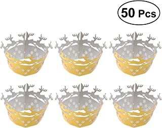 Healifty Hollow Deers Flowers Pattern Cupcake Wrappers Decor Wrap 50Pcs(Reflective Yellow)