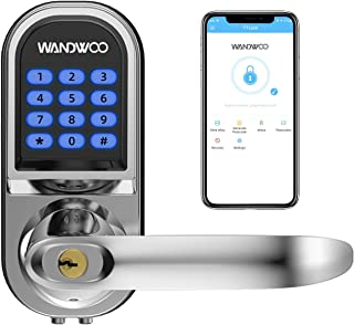 Smart Lock, Wandwoo Electronic Door Locks with Bluetooth Mechanical Keys Auto Lock Enabled Anti-peep Code Adjustable Hand for Office Hotel Home Garage Apartment Silver