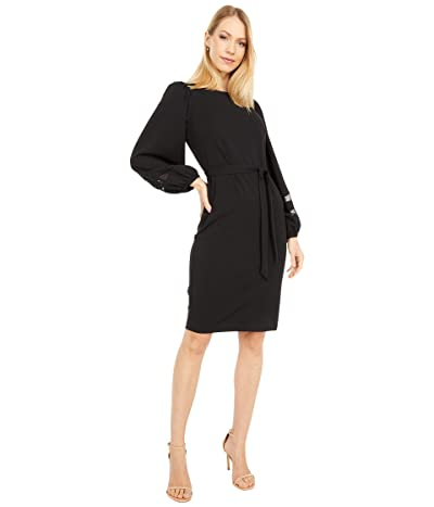 Calvin Klein Belted Dress with Illusion Sleeve Detail (Black) Women