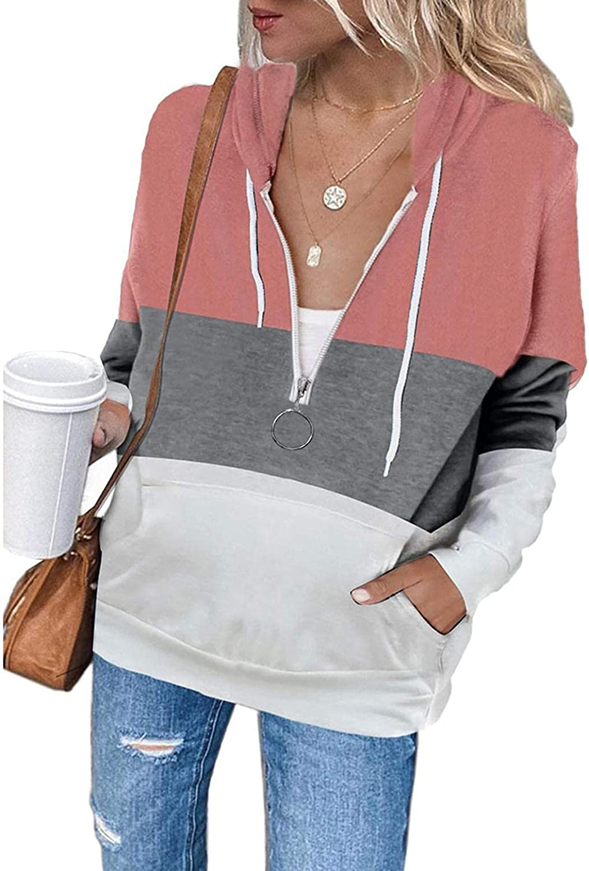 Toeava Hoodies for Women, Women's Fashion Contrast Color Lightweight Zipper Jacket Coat Long Sleeve Hoodies with Pocket
