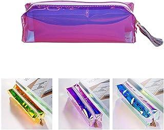 LAIYYI mångfärgade transparenta skrivvaroretui, bärbar, stor kapacitet, färgglad laserpennorganisator/kosmetikväska med dr...