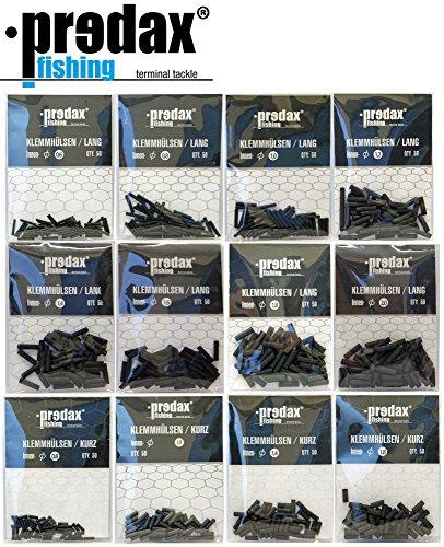 Predax Klemmhülsen - 50 Quetschhülsen für Stahlvorfächer, Crimphülsen für Hechtvorfach, Hülsen zum BAU von Titan- & Stahlvorfach, Durchmesser/Länge:1.2mm / Lange Version