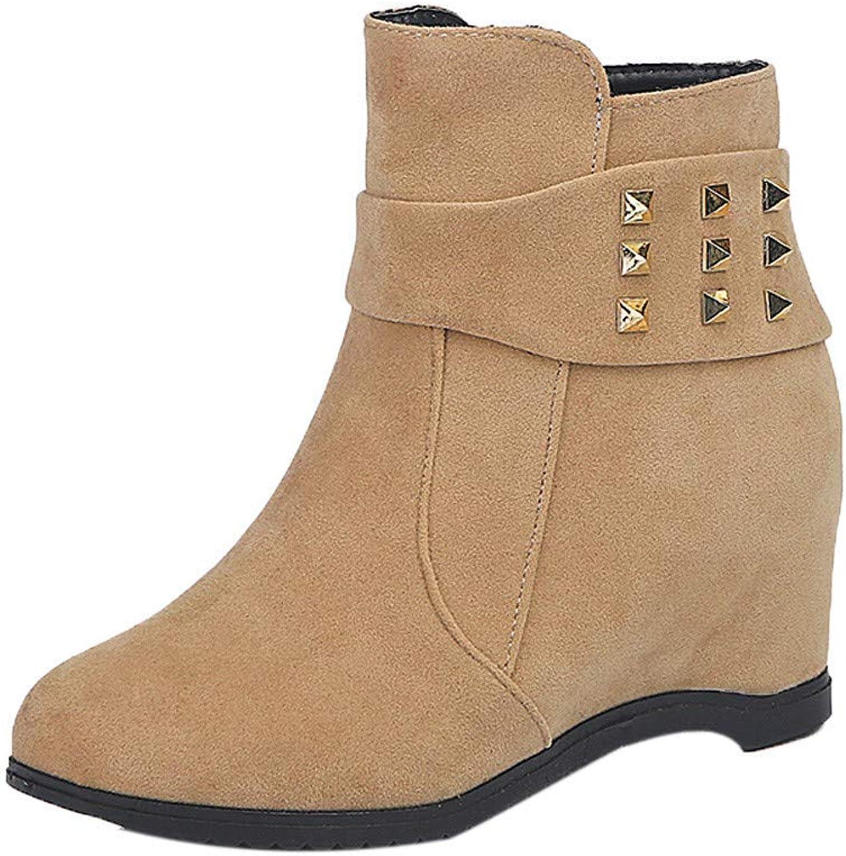 Einzelne Schuhe, Damen Stiefel, Stiefel, Stiefel, Damen Mädchen Mode High Heel Schnürung Reißverschluss Knöchel Schnalle Plattform Herbst Schuhe (Farbe   Khaki)  8cc85f