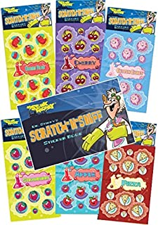 Just For Laughs Dr. Stinky's Scratch N Sniff Stickers 6-Pack and Sticker Book Gift Set- Strawberry, Pizza, Cherry, Cotton Candy, Gummi Bear, Apple 162 Stickers