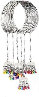 Yellow Chimes Traditional Oxidized Silver Jhumki Latkan Tassels Charms Adjustable Latest Trend Bangle Kadaa Bracelet for G...