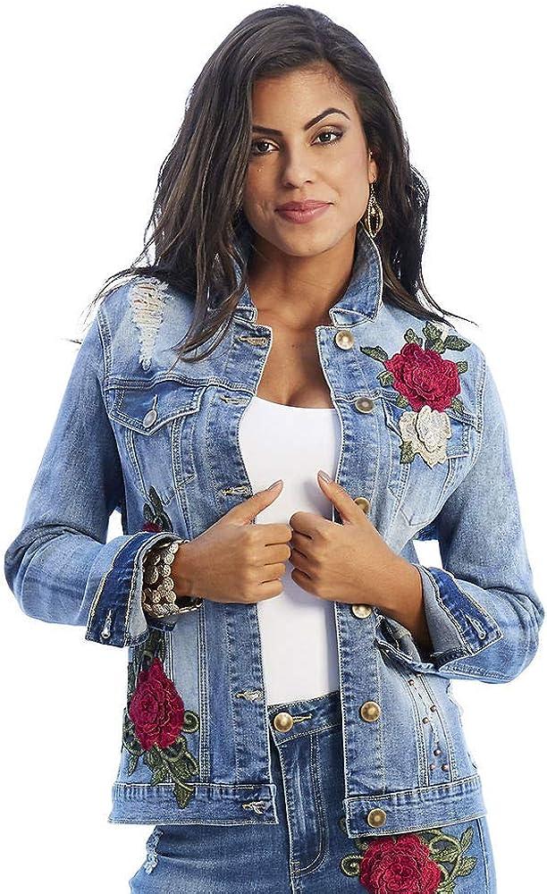 Floral Appliqu233; Jean Jacket