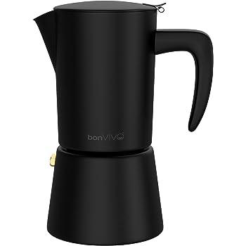 bonVIVO Intenca Cafetera Italiana Express De Inducción De Acero Inoxidable con Acabado Negro, para Espresso con Mucho Cuerpo, Cafetera Moka Clásica, para 6 Tazas De Espresso: Amazon.es: Hogar