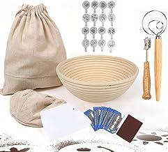 7 pack Banneton Proofing Bread Basket-Sourdough Baking-9inch Baking Bowl Dough/Danish Dough Whisk Bread Mixer/Lame Slashin...