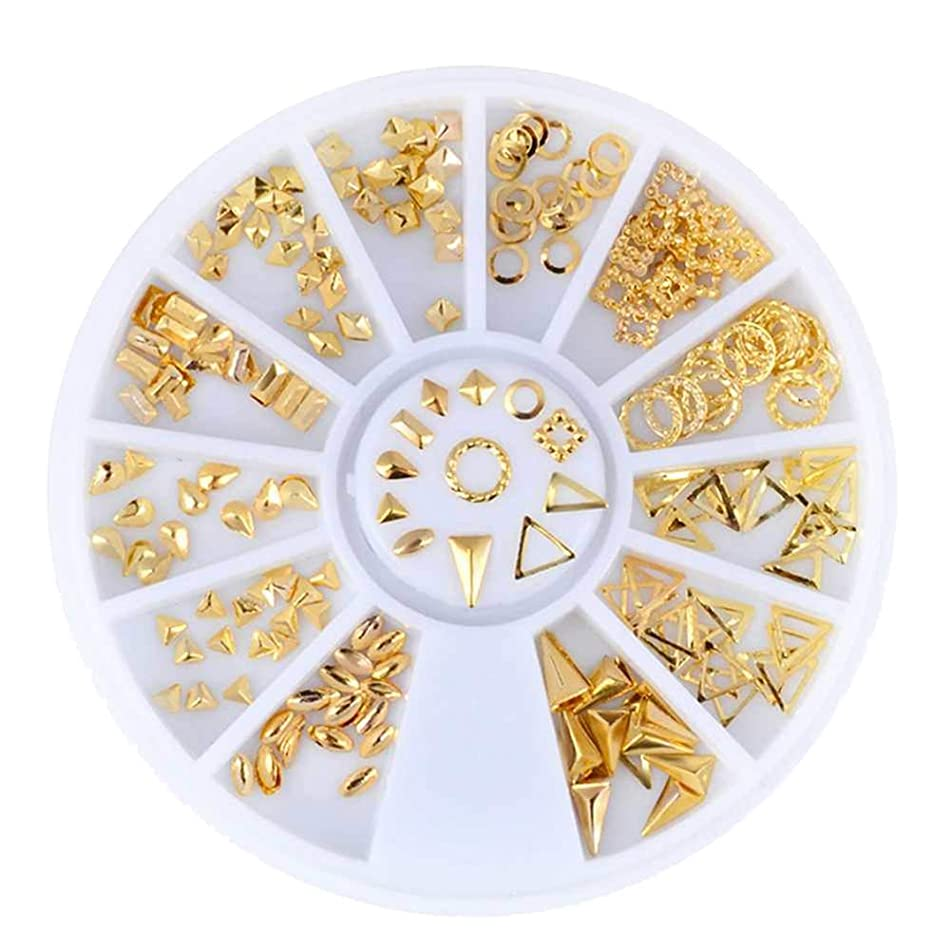 NBEADS 3 Boxes of Nail Art 3D Golden Rivet Metal Studs Mixed Charms Rhinestones Manicure Beads for Nail Art Decoration