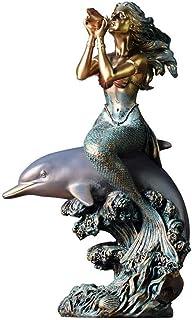ZLBYB Colección Top Sirena con Estatua de Delfines montados en Caracol, Escultura Decorativa Pintada a Mano con Acabado Antiguo Bronceado