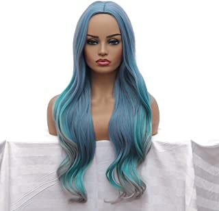 "Qaccf 26"" Long Curly Mixed Color Chic Wavy Women Wig (Blue Mix)"