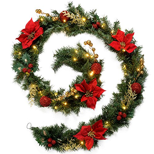 WeRChristmas Pre-Lit Decorated Garland Illuminated with 40 Warm White LED Lights, Red/Gold, 9 feet