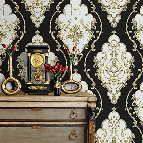 """JZ27 Luxury Damask Wallpaper Rolls, Black/Gold/Silver Embossed Texture Victorian Wall Paper Home Bedroom Living Room Hotels Wall Decoration 20.8""""x 31ft"""