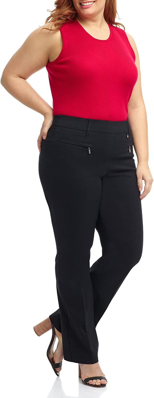 Rekucci Curvy Woman Ease into Comfort Plus Size Bootcut Pant w/Zipper Pockets