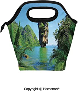 Insulated Neoprene Soft Lunch Bag Tote Handbag lunchbox,3d prited with James Bond Island Phang Nga in Thailand Filming Cliff Geological Formation Tropics,For School work Office Kids Lunch Box & Food C